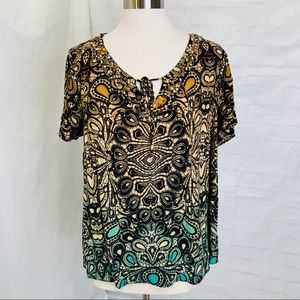 Dressbarn 1X Top Tunic Beads Sequins Brown Blue